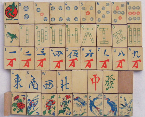 French mahjong set designed by Arkmel featuring birds and reptile mahjong tiles