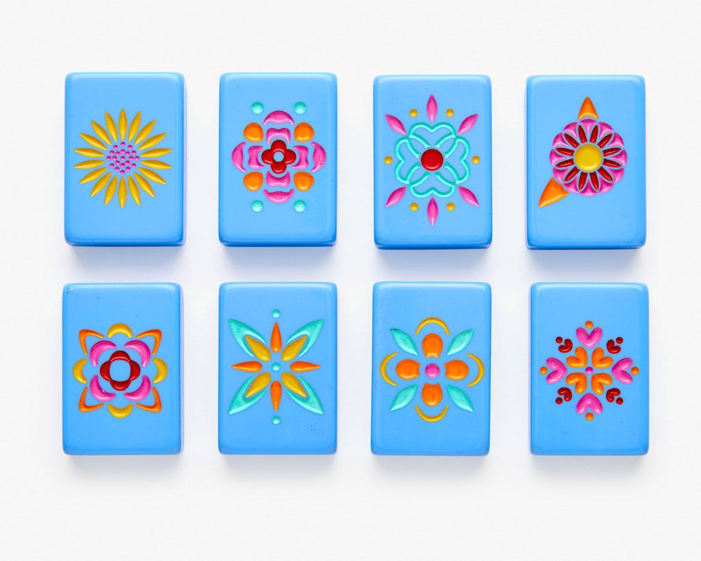 American Mahjong Tile Set featuring Flowers from the Blue Minimal Line