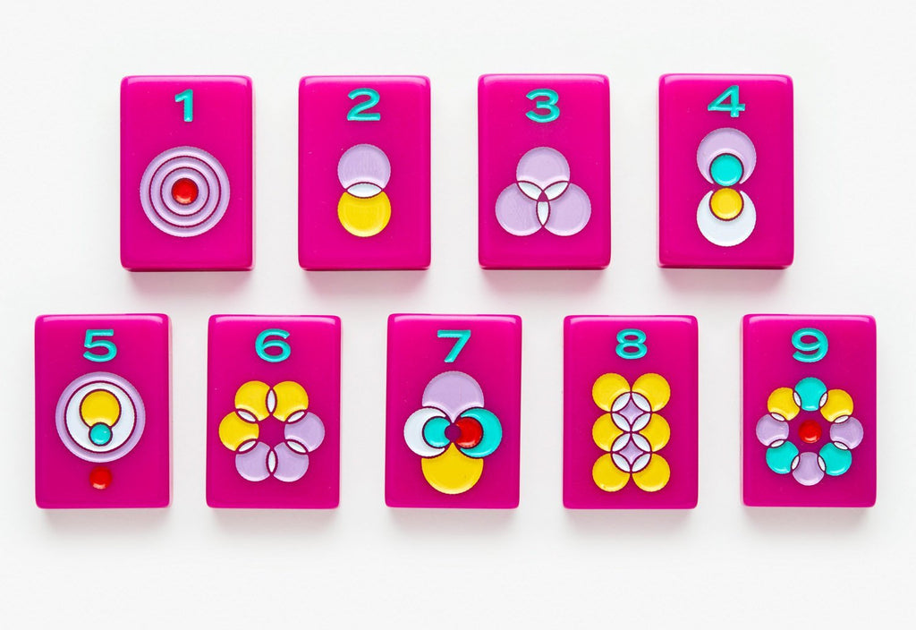 American Mahjong Tile set featuring dots from the pink minimal line.