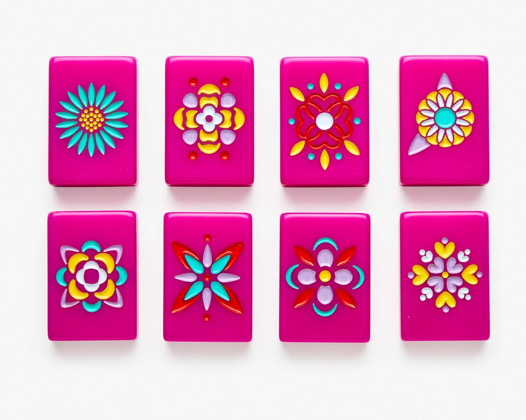 American Mahjong Tile set featuring flowers from the pink minimal line.