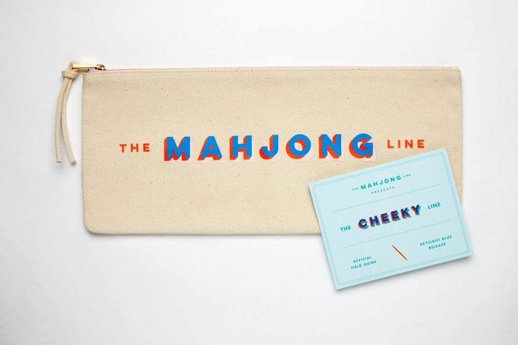 The Mahjong Line signature canvas tile pouch used for easy storage of mahjong tiles
