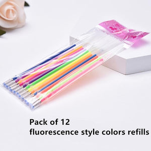12pcs/set Gel Pen Colors Refill 0.8mm Colours Ink School Stationery Writing Tool School Supplies Presented By Kevin&sasa Crafts