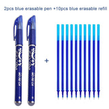 2+10Pcs/Set Gel Pen 0.5mm Erasable Washable Handle Erasable Pen Refill Rod Blue Black Ink School Stationery Office Writing Tool