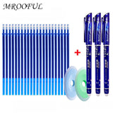 25pcs/set Erasable Pen Refill Rod 0.5mm Blue/Black Ink Washable Handle Erasable Ballpoint Pen School Office Writing Supply Tools