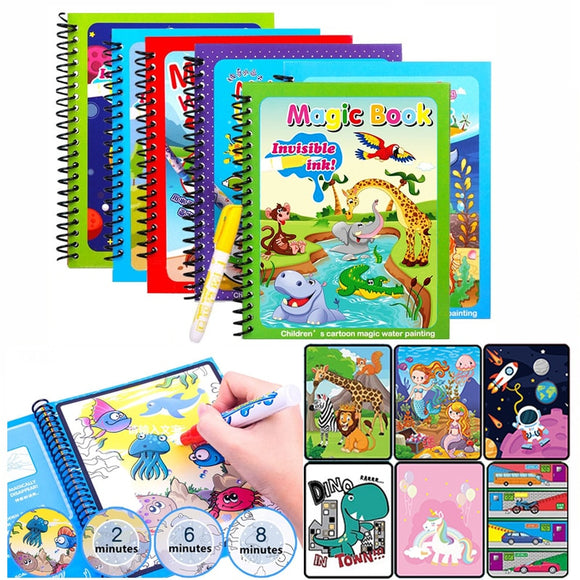 Animal Zoo Princess Magic Water Drawing Book Colorling Mermaid Cartoon Doodle Magic Pen Drawing Board Toys Kids Children Gifts