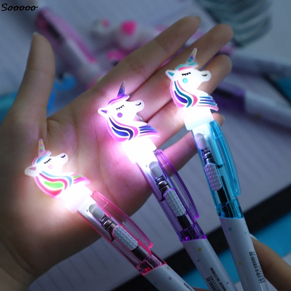 1Pc Creative Cartoon Unicorn Light Pen Cute Glowing Ballpoint Student Stationery 0.5mm Writing Tool School Supplies