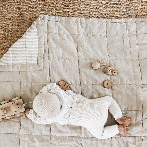7pm Linen Natural Quilted Blanket / Playmat