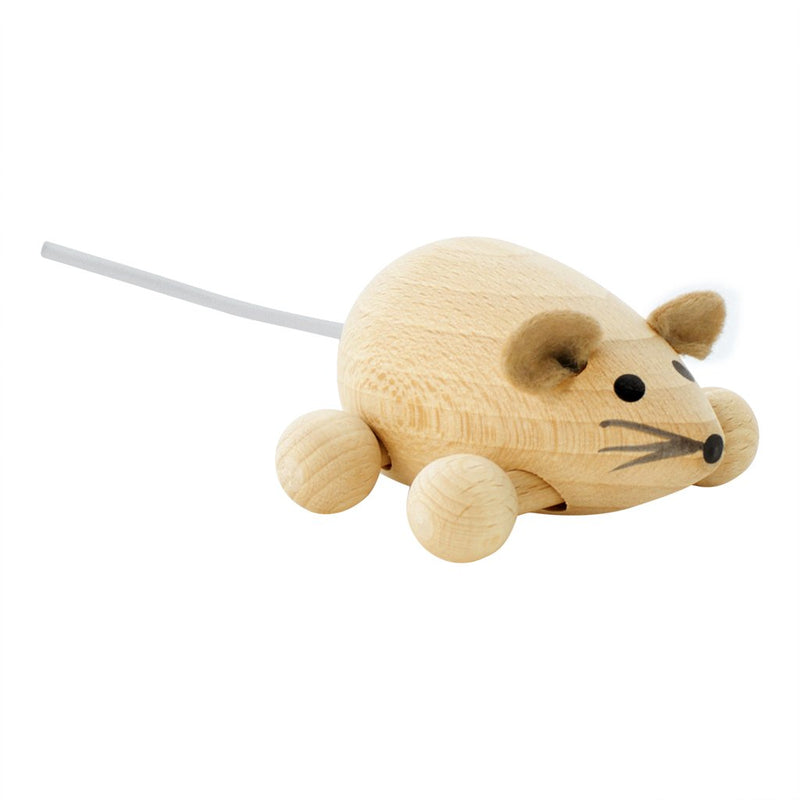 Miva Vacov Wooden Push Along Mouse - Peanut