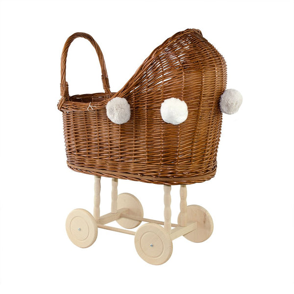 Lilu Wicker Dolls Pram High Natural