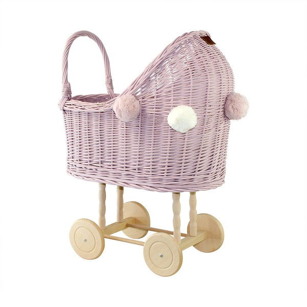Lilu Wicker Dolls Pram High Dusty Pink