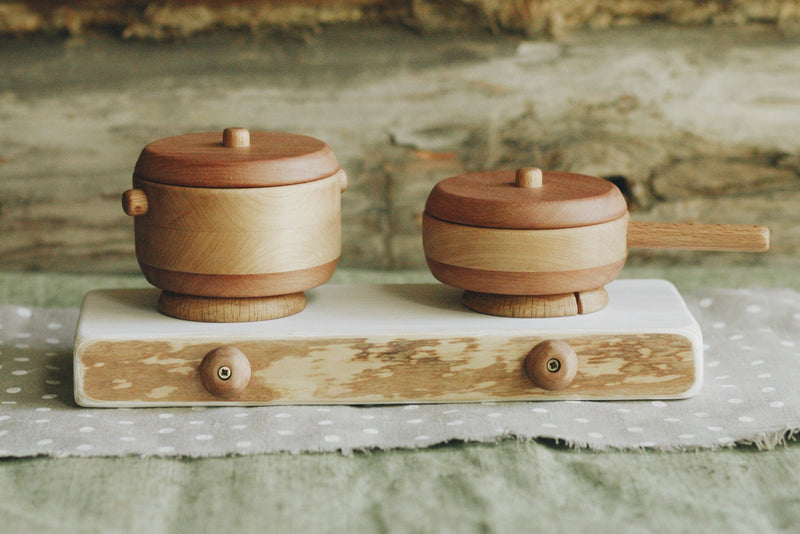 Tateplota Wooden Pot & Pan with Lids