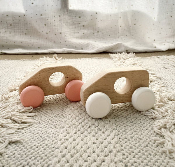 Miva Vacov White Wooden Push Along Toy Car - Sonny
