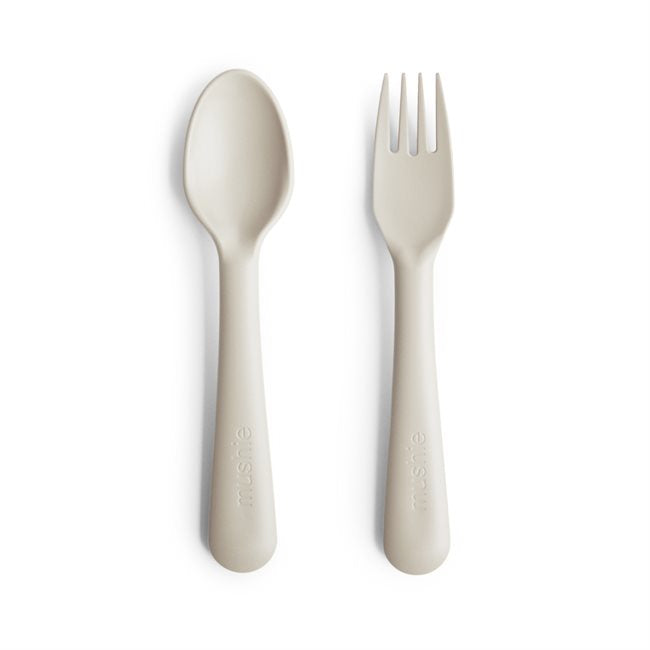 Mushie Fork & Spoon Ivory