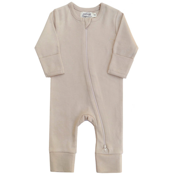 Organic Two-Way Zipper Romper Fawn