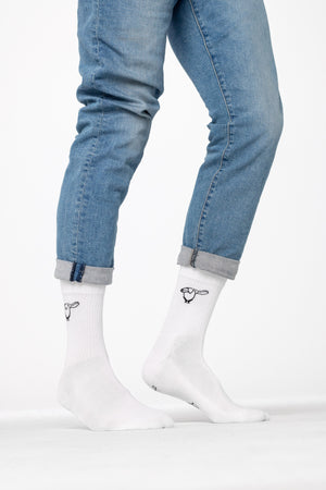 Weiße Salute Pinguin Socken 100% Made in Germany getragen am Model