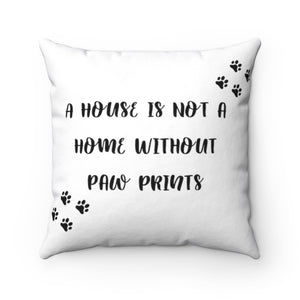 Home with Paw Prints Pillow