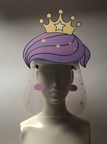 face shield with printed face princess crown