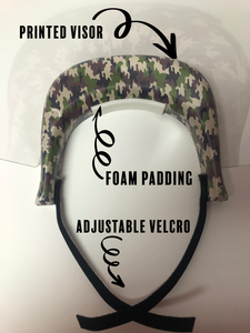 Face Shield with Printed Visor: Camo