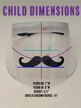 Load image into Gallery viewer, Child's Printed Face Shield: Mustache