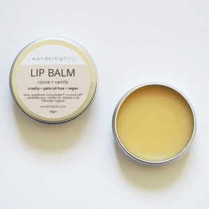 Cocoa + Vanilla Vegan Lip Balm by Wanderlightly - One Little Sprout