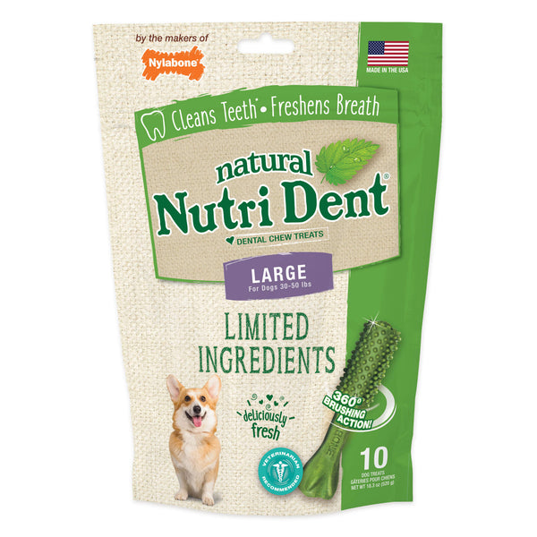 Nutri Dent Limited Ingredient Dental Chews Fresh Breath Large 10 count