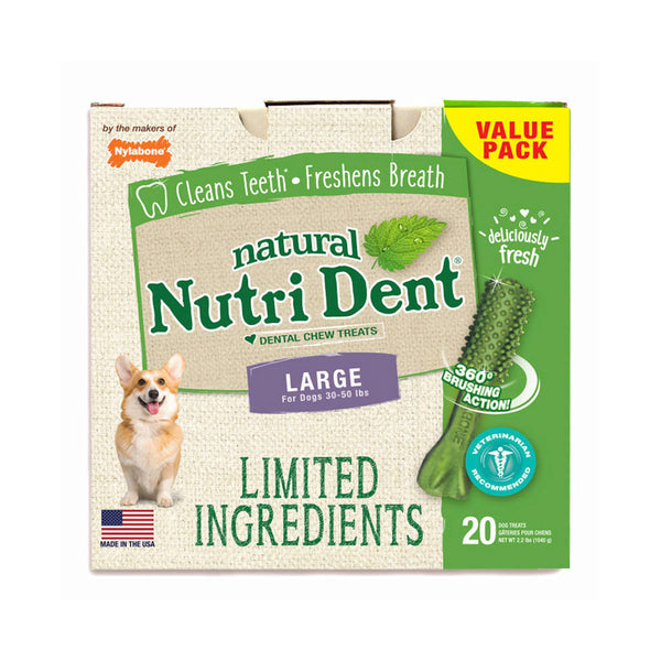 Nutri Dent Limited Ingredient Dental Chews Fresh Breath Large 20 count