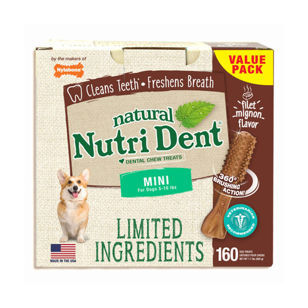 Nutri Dent Limited Ingredient Dental Chews Filet Mignon Mini 160 count