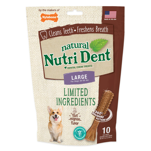 Nutri Dent Limited Ingredient Dental Chews Filet Mignon Large 10 count