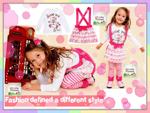 READY STOCK: Girlset Bear Love 2pcs Set (Long Sleeve Tee + Jumper Dress) [GIRLSET_BEAR]