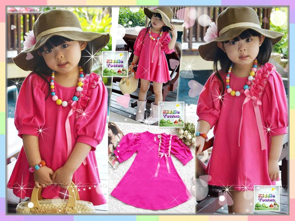 SALES: Girl Long Sleeve Butterfly Dress (DARK PINK) [KORN_LSDRESS_06]