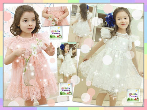 SALES: Girl Lacey Flying Sleeve Dress (WHITE) [KIDS_DRESS_027]