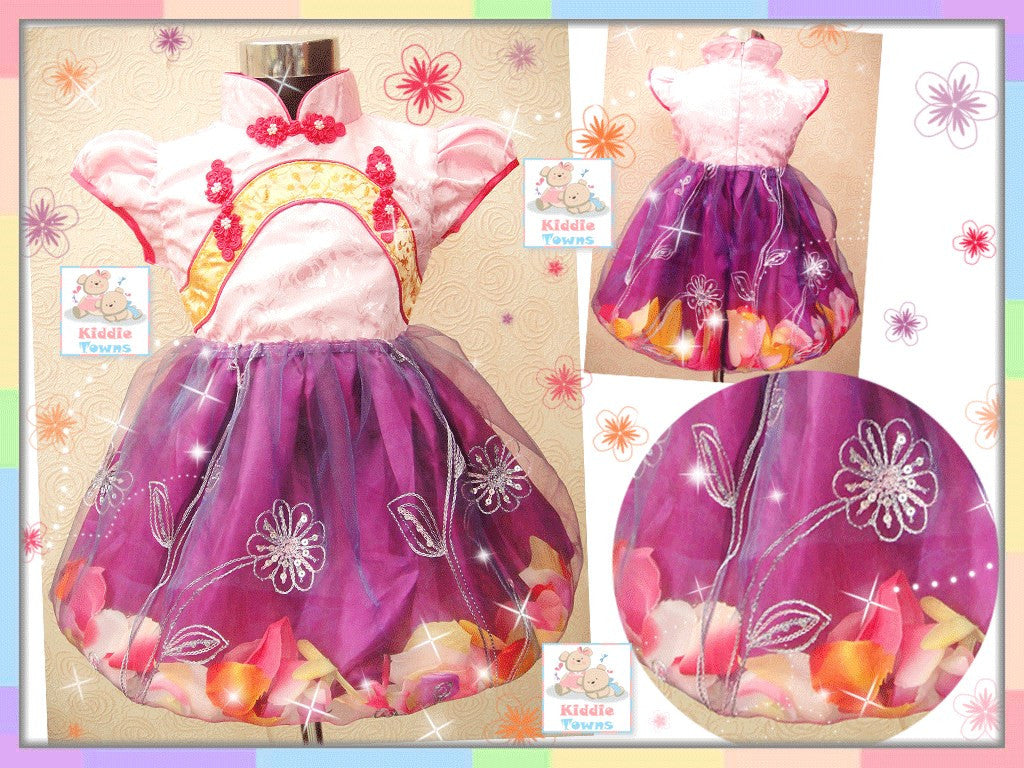 SALES: Chinese Gown QiPao Flower Pedal Dress (with Golden Band) (PURPLE) [KOREAN_GOWN_H06C]