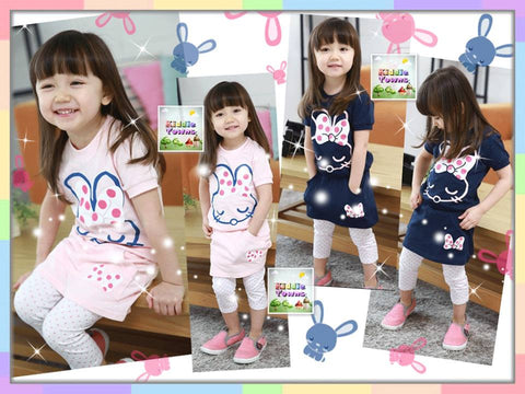 SALES: Cute Bunny Rabbit 2pcs Set (Top + Skirt Legging) [SPORTSET_BUNNY]
