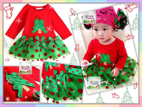 SALES: Christmas Polka Dots Tutu Dress (Long Sleeve) [MERRY_BB_LONG_01]