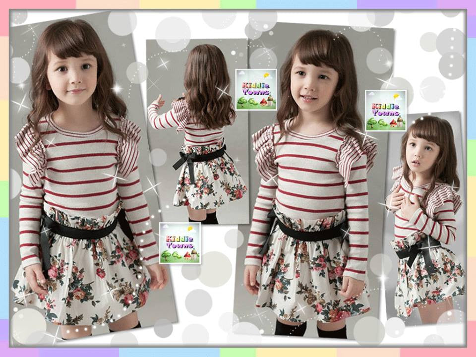 READY STOCK: Korean Stripe & Flowery Dress (One Piece) (RED Stripe) [KORN_GIRL_DRESS_022]