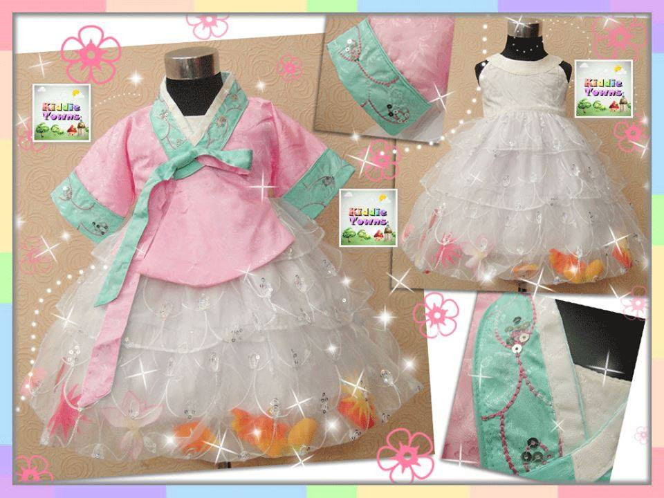 READY STOCK: Peacock Design Gown with Flower Pedal 2pcs Set (PINK Coat + WHITE Gown) [KOREAN_GOWN_H11]