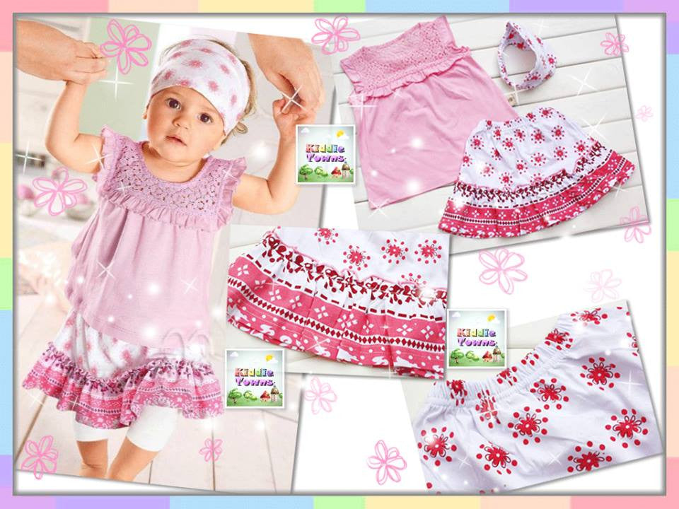 SALES: Sweet Girl Knitted Design Purple 3pcs Set (Top + Skirt + Headband) [GIRLSET_SUMMER_04]