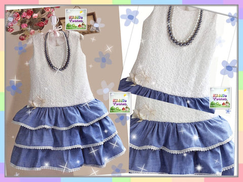 SALES: Pleasantly perfect in Ivory Lace Denim Dress (FREE Necklaces) [PRETTY_D74]
