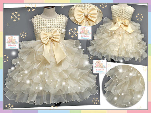 READY STOCK: Pretty Bow Pearl Sequins Layers Cake Gown (HONEY CHAMPAGNE) [LOVE_BB40B]