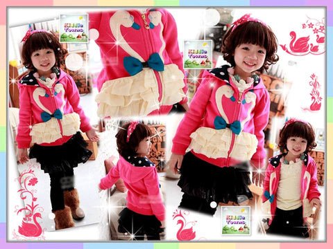 SALES: Girl Swan Hoodies Jacket (DARK PINK) [JACKET_SWAN]