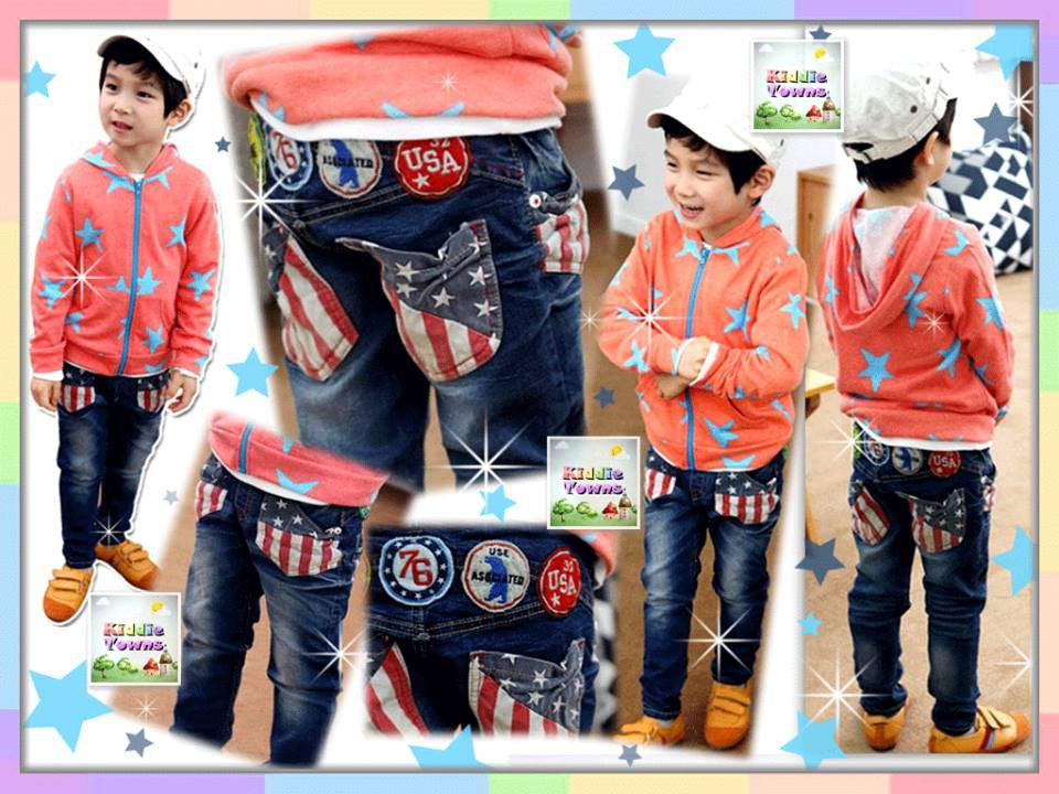 READY STOCK: USA Flag Front & Pocket Stylish Long Jeans (BLUE) [KOREAN_PL21]