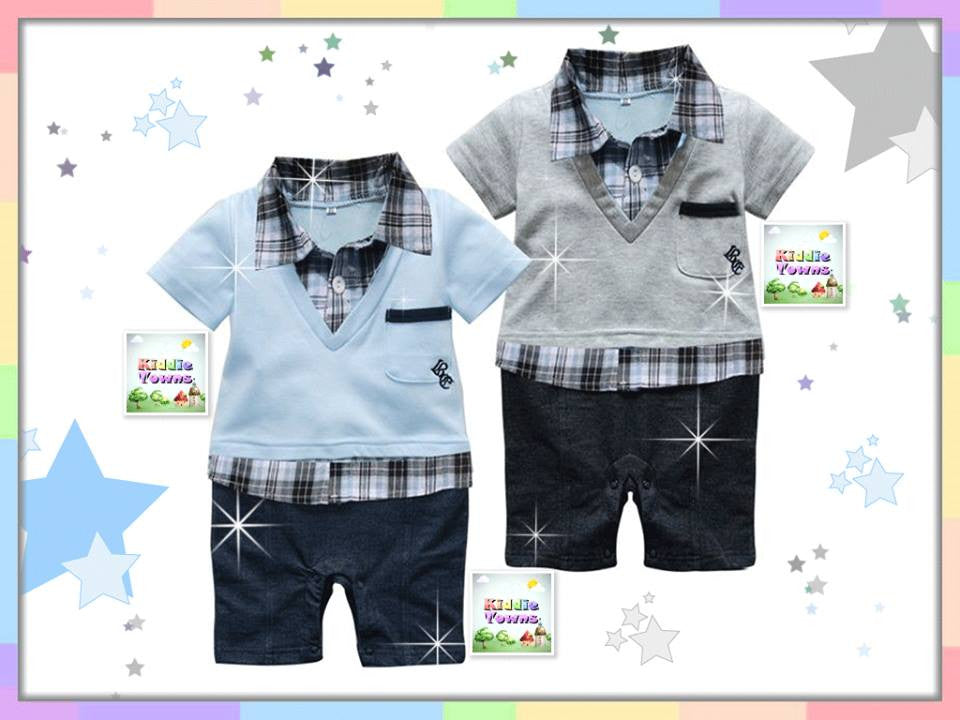 READY STOCK :Checkered Boy Vest Romper [RP0015A]