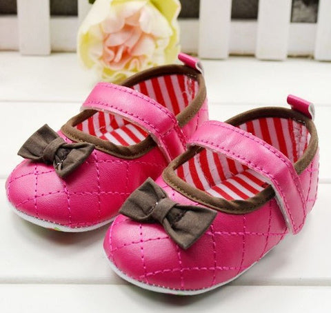 PREWALKER MotherC*re Dark Pink Ribbon Shoes [SHOES_G025]