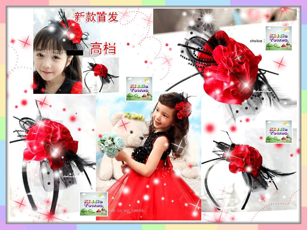 Princess Big Flower with Lace Hairband (RED) [PRETTY_BAND_02]