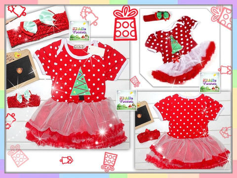 SALES: Baby Xmas Tree Dotted Tutu Dress set [MERRY_BB_02]