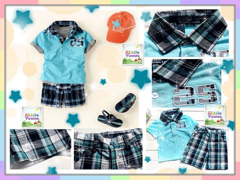 SALES:P*LO BLUE CHECKERED 2pcs Set  [PLO_SET#G]