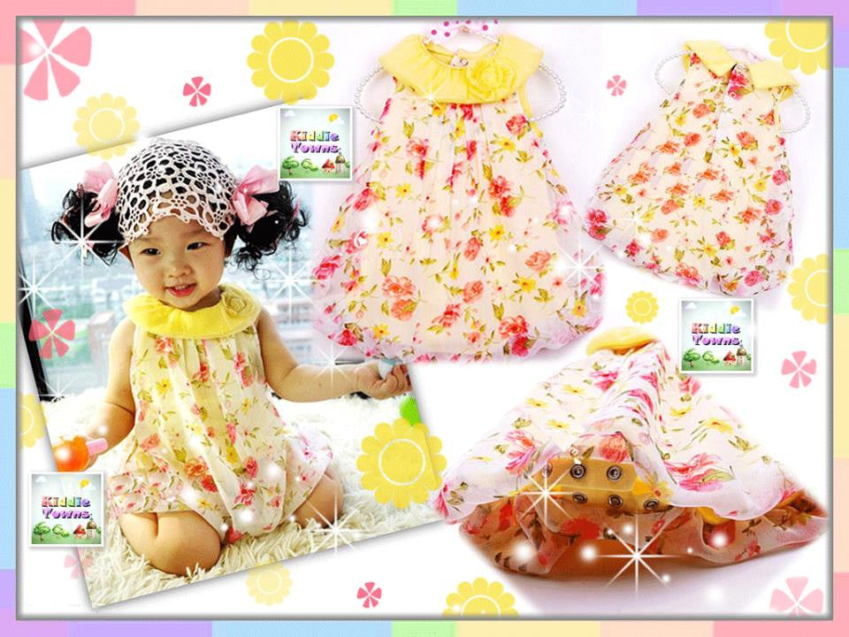 READY STOCK: Baby YELLOW Flowery Romper Dress [LOVE_BB07_D]