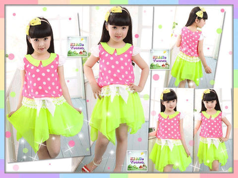 SALES: Big Girl Bright Color Polka Dots Un-even Dress (PINK) [KIDS_DRESS_098]
