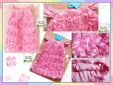 READY STOCK: Full Roses Princess Gown (PINK) [PRETTY_BABY09]