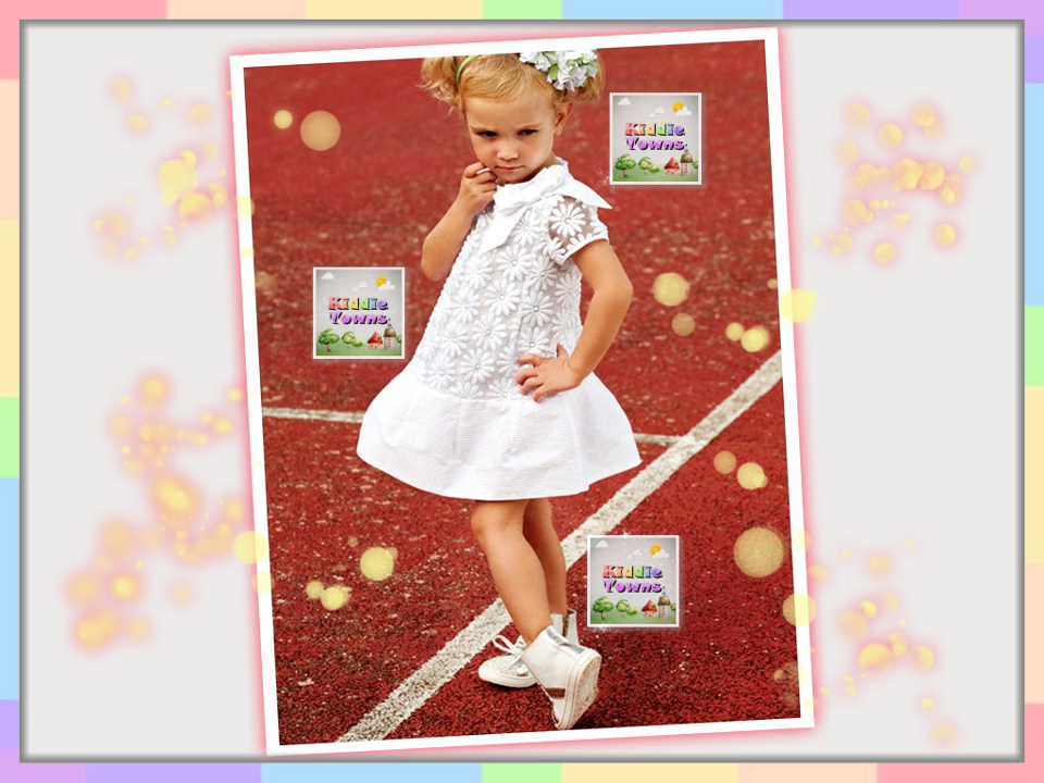 SALES: SunFlower Ribbon White Dress [KIDS_DRESS_007]